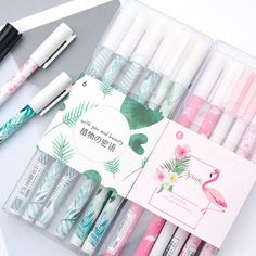 Pink Flamingo Pen Set OR Green Plant Pen Set, Cute Pen, Novelty Pens Gel Pens 3 or 6 Piece Pen Set P