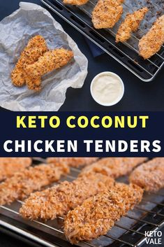 Keto Coconut Chicken Tenders with Flaxseeds Recipe - Momandson Coconut Chicken Strips, Baked Coconut Chicken, Coconut Chicken Tenders, Fried Chicken Tenders, Keto Fried Chicken, Breaded Chicken, Crispy Chicken, Low Carb Keto, Low Carb Recipes