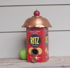 Repurposed Ritz Cracker Can Birdhouse, One of a Kind Birdhouse, Tin Can Birdhouse, Copper Birdhouse, Decorative or Outdoor, Whimsical