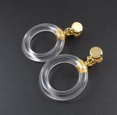 Trifari Lucite Hoop Earrings Trifari Clear by StyleVintageJewelry
