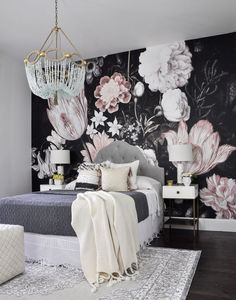 One Room Challenge. Love the bold wallpaper, unique chandelier, gorgeous crochet bed linens. bedroom decor design decorating