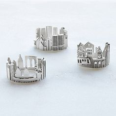 Wholesale Jewelry Cityscape Rings - Ola Shekhtman's sterling silver skyline rings let you wear your favorite city around your finger. Jewelry Gifts, Unique Jewelry, Jewelry Accessories, Women Jewelry, Handcrafted Jewelry, Jewelry Ideas, Cheap Jewelry, Unique Rings, Jewellery