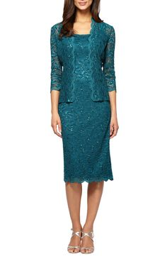 New Alex Evenings Lace Dress Jacket (Regular Petite), Navy Multi fashion dress online. [$179]>>newtstyle Shop fashion 2017 <<