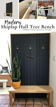 Complete DIY Build Plans Available with step-by-step instructions to build this Modern Shiplap Hall Tree Bench with only 5 Power Tools! Mcm Furniture, Diy Furniture Projects, Diy Furniture Plans, Home Projects, Cottage Furniture, Building Furniture, Welding Projects, Painted Furniture, Modern Hall Trees