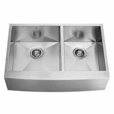 vigo 36 inch farmhouse stainless steel 16 gauge double bowl kitchen sink with free shipping zuhne 33 inch farmhouse apron deep single bowl 16 gauge stainless      rh   pinterest com
