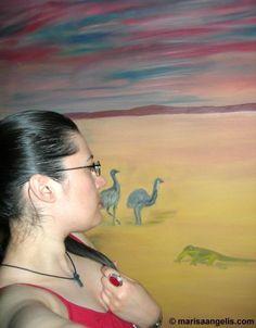 "Marisa Angelis Artist Painter Designer Writer Poet Philanthropist Humanitarian Promoter   with Painting ""Backyard Australia"" 2009 by John Angelis © Marisa Angelis www.marisaangelis.com"