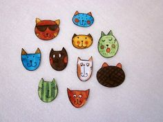 Set of 10 Adorable Cat Face Iron On Appliques by mjhobbiesngifts, $2.25 using Cool Cats by Sue Zipkin from Clothworks
