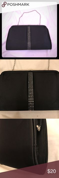 Kate Landry clutch This is a good clutch purse to wear for a special occasion. I've had it a long time. A few marks and a tear. I took pics. But all the little diamonds sequins are all intact. It comes with a short silver strap and a long black strap. Kate Landry Bags Clutches & Wristlets