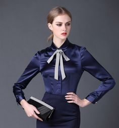 2016 new Satin Shirt Women Long sleeve peter pan collar silk Blouses women work wear uniform office OL shirt simple body tops in Attention: 1. About Color: As different computers display colors differently, the color of the act aus Blusen & Shirts auf AliExpress.com | Alibaba Group