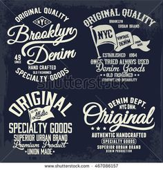 📷 Royalty-free image: Vintage denim label design set, t-shirt graphics, vectors Design Set, Label Design, Logo Design, Print Design, Design Ideas, Vintage Denim, Typographie T-shirt, Typography Fonts, Lettering