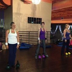 Double Kettlebell work with @Sheena Clow @kaetlyn_elise and @Nicole Van Beek This was a brutal #workout! #fitfluential - @Kettlebell Bombshell- #webstagram