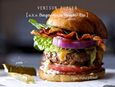 Feel like going gourmet with your delicious, lean ground deer meat? Check out this yummy looking VENISON BURGER (a.k.a Burgersaurus Venison-Rex). The key is mixing in a fattier meat!