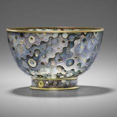gold plaque - jour enamel bowl with a cloisonné base.Two enamel techniques on one piece Alexandra Raphael