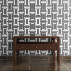 Lovely geometric wallpaper - perhaps for the accent wall in the living room?