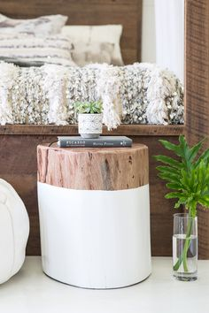Select from a collection of recycled timber furniture. Recycled Timber Furniture, Modern Industrial Furniture, Log Furniture, Painted Furniture, Small Wood Projects, Home Projects, Log Stools, Log Benches, Creation Deco