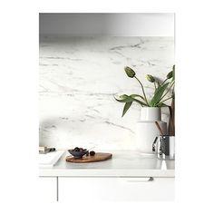 SIBBARP white marble effect, laminate, Custom made wall panel - IKEA Laminate Countertops, Ikea Kitchen Countertops, Countertop Desk, Onyx Countertops, Kitchen Worktops, Kitchen Taps, Kitchen Island, Marble Effect, Modern Kitchens