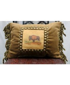 Double D Ranchwear Bison Pillow