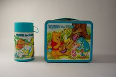 RARE! 1967 Winnie The Pooh Metal Lunch Box With Matching Thermos By Aladdin