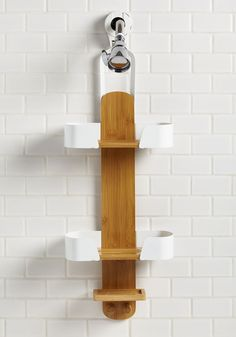 Clean and Tidy Shower Caddy. Take your knack for neatness to all corners of your home - including your shower, using this bamboo caddy to store your bottles and bars! #brown #modcloth