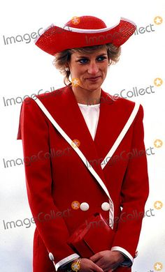 Diana Princess of Wales in Red and White combination
