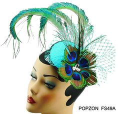 3f62312f Curled Peacock Fascinator Hatinator - Feathers Cluster with Graduated  Crinoline Swarovski Pearls Blue Green Hat - No.1 on Google | Derby Day |  Fascinator, ...