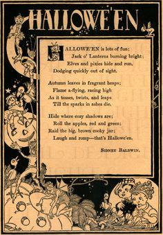 Delightful Rare Digital HALLOWEEN Poem. VINTAGE Halloween Digital Download. Vintage Illustration. 2 Versions/1 Price! Scanned From ORIGINAL!