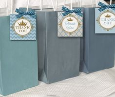 prince baby shower thank you tags, INSTANT DOWNLOAD,  royal blue and gold thank you tags, 2.5 inch square favor tags, blue and gold shower