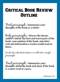 How to write a good book review. - Daily Mayo #books #review #bookreview #writingtips