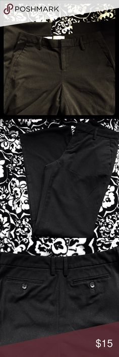 Black Trousers by GAP Women's black  stretch trousers in  size 6 Regular, straight fit by GAP.  Excellent used condition.  Features double clip inside enclosure, front pockets, back button pockets and is 65% Polyester/33% Rayon/2% spandex. GAP Pants Trousers