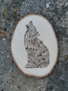 Wood burned howling coyote- rustic tribal pattern
