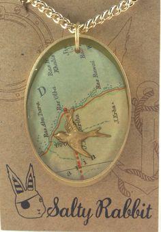 Vintage Ephemera Map Necklace by Salty Rabbit