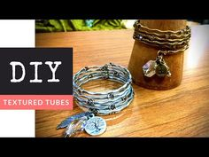 How To Make A DIY Textured Tube Beaded Memory Wire Bracelet - YouTube