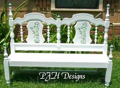 Vintage bed turned into a bench.  Wow.. never thought of that idea.