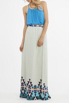 Geometric Print Chiffon Maxi Skirt