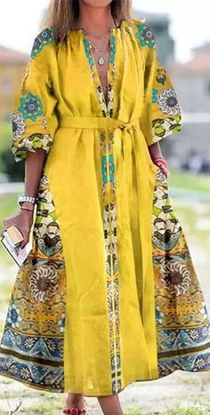 Maxi Dress With Sleeves, Belted Dress, Floral Print Maxi Dress, Elegant Outfit, Fall Dresses, Summer Dresses, Casual Outfits, Fashion Dresses, Street Style
