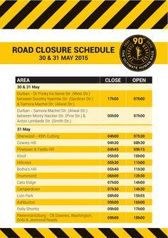 Road Closures for the 2015 Comrades Marathon