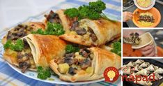 Mushrooms,potatoes,cheese and puff pastry Savory Pastry, Good Food, Yummy Food, Stuffed Mushrooms, Stuffed Peppers, Food Menu, Tasty Dishes, Great Recipes, Appetizers