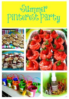 I love this idea!  A real life at home summer pinterest party Everything brings a food they found on Pinterest