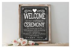 Instant 'WELCOME to our unplugged Ceremony' Printable Wedding No Cell Phone or Cameras Party Printable Chalkboard Size Options