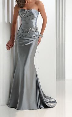 Evening Dress-Modern Sexy Silver Strapless Sheath/Column Ankle Length Beads Evening Dresses Party Prom Dresses