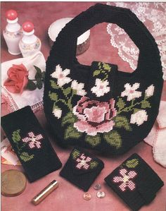 Cabbage Rose Set Plastic Canvas Pattern by needlecraftsupershop, $3.50