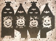 Halloween Arts And Crafts, Halloween Projects, Halloween Fun, Fall Crafts, Diy Projects, Diy Halloween Luminaries, Halloween Lanterns, Halloween Silhouettes, Paper Lanterns
