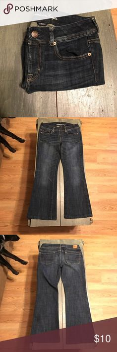 American Eagle Stretch Original Boot Short Jeans American Eagle Original Boot Stretch Jeans. Size 6 Short. Hardly ever worn bc they were too short. Like new condition!! Dark Blue with fading. And they make ur butt look good👌🏻 American Eagle Outfitters Jeans Boot Cut