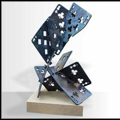 Mild steel Every day Objects ( of inorganic things) #sculpture by #sculptor Antony Poels titled: 'Playing Cards (Giant Mild Steel Outsize Outdoors statue)' £9500 #art
