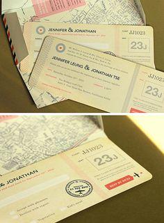 convite de casamento - bilhete de avião