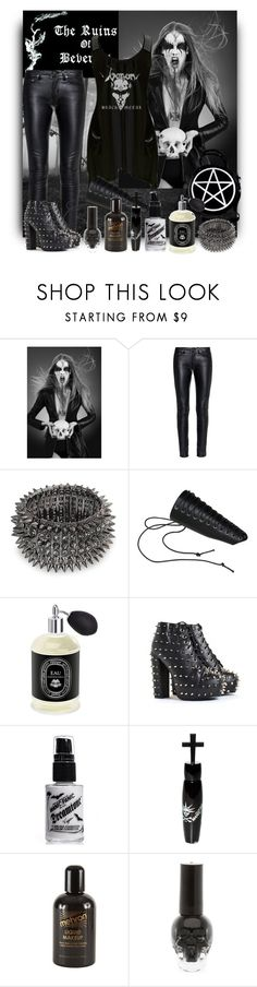 """Black Metal Couture"" by marielecastan ❤ liked on Polyvore featuring Magasin, Yves Saint Laurent, Venom, Killstar, Bling Jewelry, Diptyque, Manic Panic NYC, Mehron, Hot Topic and blackmetal"