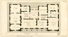 Ground plan: Hall, steward's room, study, dining room, tea room, drawing room, breakfast room, library, dressing room, bed room and anti room (1799) | Charles Middleton (c.1756-1818) | Hand-colored etching | The architect and builder's miscellany or pocket library (P. XXXI) | NYPL