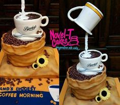 Coffee coffee coffee cake by Novel-T Cakes Coffee Bar Party, Coffee Theme, Coffee Cake, Coffee Coffee, Coffee Beans, Coffee Shop, Cupcakes, Cake Cookies, Cupcake Cakes