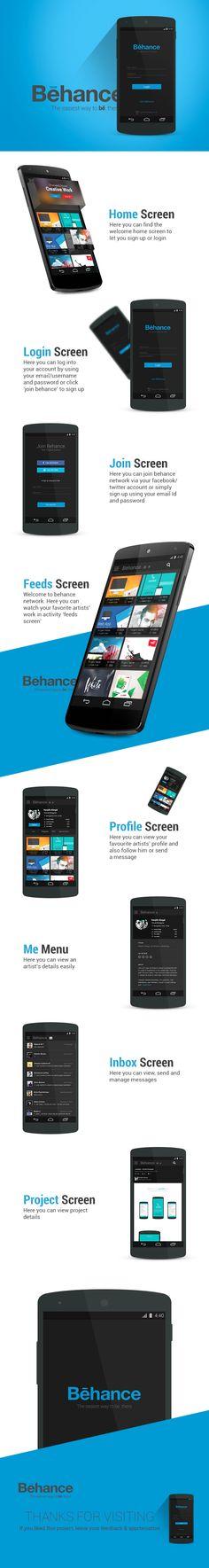 Behance Redesign Concept by Ranjith Alingal, via Behance Mobile Application Design, Mobile Ui Design, Ui Ux Design, Graphic Design, Gui Interface, User Interface Design, Android Design, Ui Design Inspiration, Ui Web