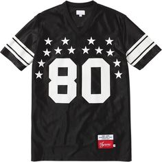 Supreme: Star Football Top - Black ($98) ❤ liked on Polyvore featuring tops, t-shirts, tees, star t shirt, star print top, star tee and star print t shirt